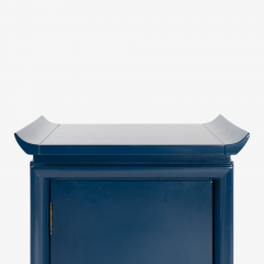 Asian Style Petite Nightstands with Brass Pulls in Marine Blue Lacquer Pair - 1430671