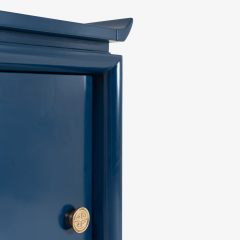 Asian Style Petite Nightstands with Brass Pulls in Marine Blue Lacquer Pair - 1430673