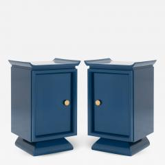 Asian Style Petite Nightstands with Brass Pulls in Marine Blue Lacquer Pair - 1431268