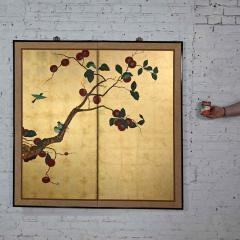 Asian chinoiserie framed gold leafed paper two panel screen or wall hanging - 2130367