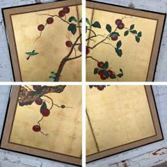 Asian chinoiserie framed gold leafed paper two panel screen or wall hanging - 2130368