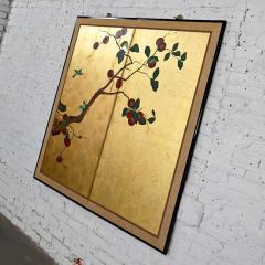 Asian chinoiserie framed gold leafed paper two panel screen or wall hanging - 2130374