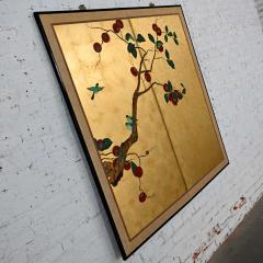 Asian chinoiserie framed gold leafed paper two panel screen or wall hanging - 2130376
