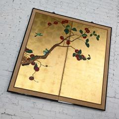 Asian chinoiserie framed gold leafed paper two panel screen or wall hanging - 2130390