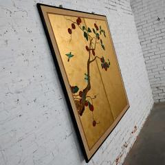Asian chinoiserie framed gold leafed paper two panel screen or wall hanging - 2130391