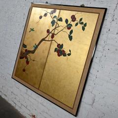 Asian chinoiserie framed gold leafed paper two panel screen or wall hanging - 2130392