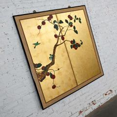 Asian chinoiserie framed gold leafed paper two panel screen or wall hanging - 2130393