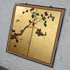 Asian chinoiserie framed gold leafed paper two panel screen or wall hanging - 2130396