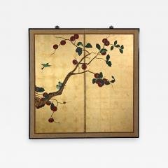 Asian chinoiserie framed gold leafed paper two panel screen or wall hanging - 2132053