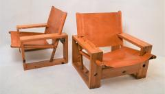 Ate van Apeldoorn Set of leather pine lounge chairs by Ate van Apeldoorn  - 1162934