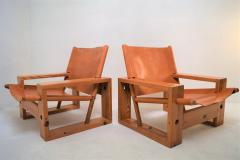 Ate van Apeldoorn Set of leather pine lounge chairs by Ate van Apeldoorn  - 1162935