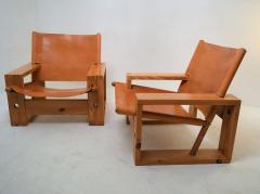 Ate van Apeldoorn Set of leather pine lounge chairs by Ate van Apeldoorn  - 1162938