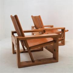 Ate van Apeldoorn Set of leather pine lounge chairs by Ate van Apeldoorn  - 1162939