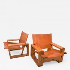 Ate van Apeldoorn Set of leather pine lounge chairs by Ate van Apeldoorn  - 1163486