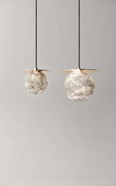 Atelier Alain Ellouz Set of 2 Alabaster Yak Pendant Light by Atelier Alain Ellouz - 1784216