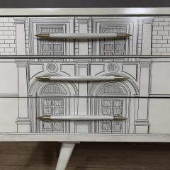 Atelier Fornasetti White Six Drawer Dresser Architectural Imagery Fornasetti Style - 1689778