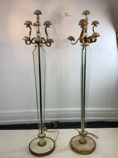 Atelier Petitot EXCEPTIONAL FRENCH ART DECO ENAMELED BRASS AND GLASS FLOOR LAMPS - 1178041