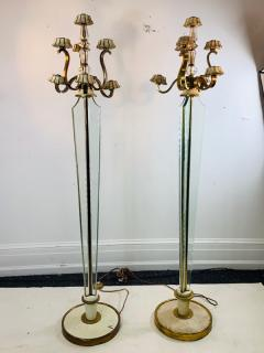 Atelier Petitot EXCEPTIONAL FRENCH ART DECO ENAMELED BRASS AND GLASS FLOOR LAMPS - 1178042