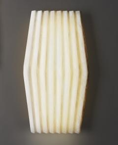 Atelier Terrai Bespoke Minimalist Italian Neoclassical White Alabaster Geometric Modern Sconce - 1673537