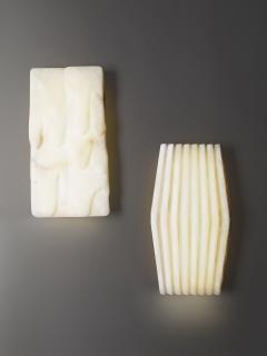 Atelier Terrai Bespoke Minimalist Italian Neoclassical White Alabaster Geometric Modern Sconce - 1673539