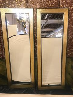 Atlas Showroom A Pair of Mid Century Modern Style Gold Brass Wall or Console or Floor Mirrors - 1018415