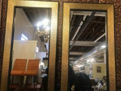 Atlas Showroom A Pair of Mid Century Modern Style Gold Brass Wall or Console or Floor Mirrors - 1018417