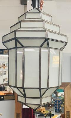 Atlas Showroom Art Deco Style White Milk Glass Handmade Chandelier Pendant Lantern a Pair - 1604601