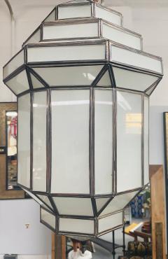 Atlas Showroom Art Deco Style White Milk Glass Handmade Chandelier Pendant Lantern a Pair - 1604602