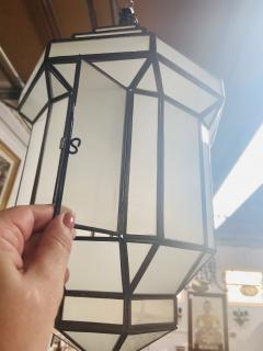 Atlas Showroom Art Deco Style White Milk Glass Handmade Chandelier Pendant Lantern a Pair - 1604603