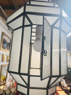 Atlas Showroom Art Deco Style White Milk Glass Handmade Chandelier Pendant Lantern a Pair - 1604604