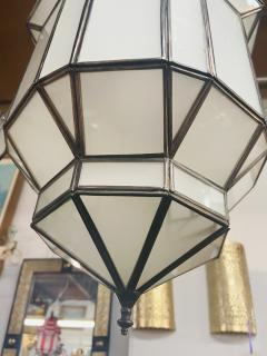 Atlas Showroom Art Deco Style White Milk Glass Handmade Chandelier Pendant Lantern a Pair - 1604605