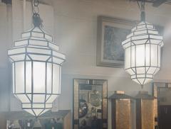 Atlas Showroom Art Deco Style White Milk Glass Handmade Chandelier Pendant Lantern a Pair - 1604606