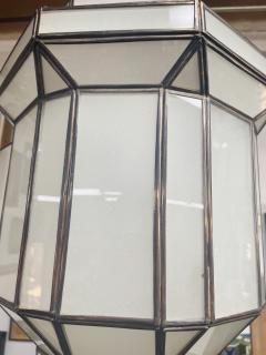 Atlas Showroom Art Deco Style White Milk Glass Handmade Chandelier Pendant Lantern a Pair - 1604607