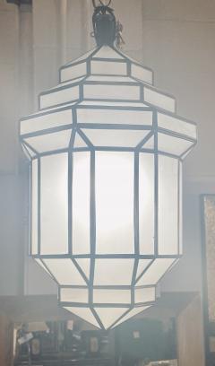 Atlas Showroom Art Deco Style White Milk Glass Handmade Chandelier Pendant Lantern a Pair - 1604608