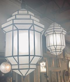 Atlas Showroom Art Deco Style White Milk Glass Handmade Chandelier Pendant Lantern a Pair - 1604610
