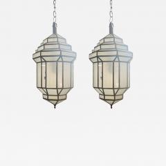 Atlas Showroom Art Deco Style White Milk Glass Handmade Chandelier Pendant Lantern a Pair - 1612488