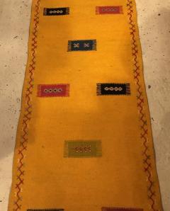 Atlas Showroom Berber Tribal Moroccan Mustard Yellow Runner Wool Rug - 1145099