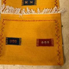 Atlas Showroom Berber Tribal Moroccan Mustard Yellow Runner Wool Rug - 1145102