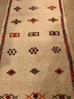 Atlas Showroom Berber Tribal Moroccan Off White Runner Wool Rug - 1145092