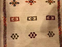 Atlas Showroom Berber Tribal Moroccan Off White Runner Wool Rug - 1145093