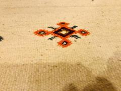 Atlas Showroom Berber Tribal Moroccan Off White Runner Wool Rug - 1145094