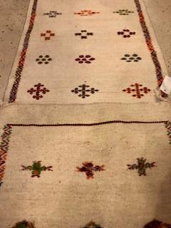 Atlas Showroom Berber Tribal Moroccan Off White Runner Wool Rug - 1145095