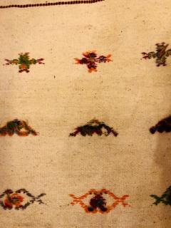 Atlas Showroom Berber Tribal Moroccan Off White Runner Wool Rug - 1145096