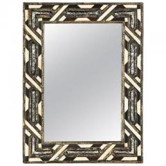 Atlas Showroom Compatible Moroccan White Bone Wall Console Mirrors in Hollywood Regency Style - 1024626