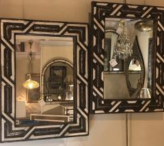 Atlas Showroom Compatible Moroccan White Bone Wall Console Mirrors in Hollywood Regency Style - 1024633