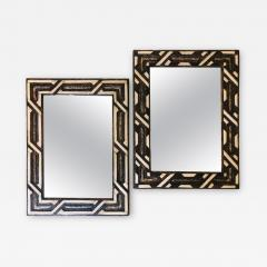 Atlas Showroom Compatible Moroccan White Bone Wall Console Mirrors in Hollywood Regency Style - 1025547