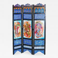 Atlas Showroom Hand Painted Moroccan Room Divider or Folding Screen - 1031180
