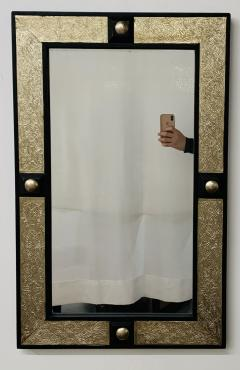 Atlas Showroom Hollywood Regency Style Moroccan Mirror in Brass and Wood Frame - 1601469