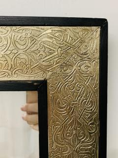 Atlas Showroom Hollywood Regency Style Moroccan Mirror in Brass and Wood Frame - 1601472