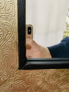 Atlas Showroom Hollywood Regency Style Moroccan Mirror in Brass and Wood Frame - 1601474